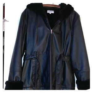 "Like New Pelle Black Leather ""Bus Stop"" Jacket"